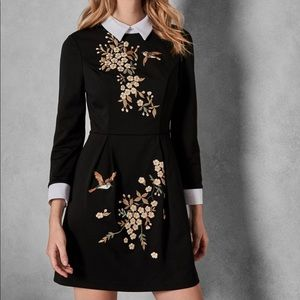 TED BAKER LONG SLEEVE DRESS with front pockets